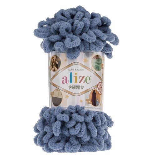 Купить Пряжа для вязания Alize 'Puffy' 100г 9м (100% микрополиэстер) (374 голубой), 5 мотков