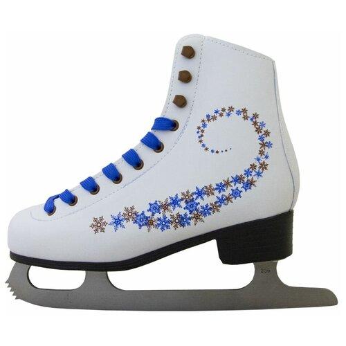 Фигурные коньки Novus AFSK-20 белый/синий/сине-коричневые звезды р. 33 фигурные коньки novus afsk 20 белый синий сине красные звезды р 33