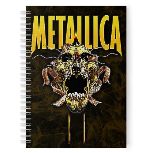 Купить Тетрадь 48 листов в клетку с рисунком Metallica Череп желтый, Drabs, Тетради