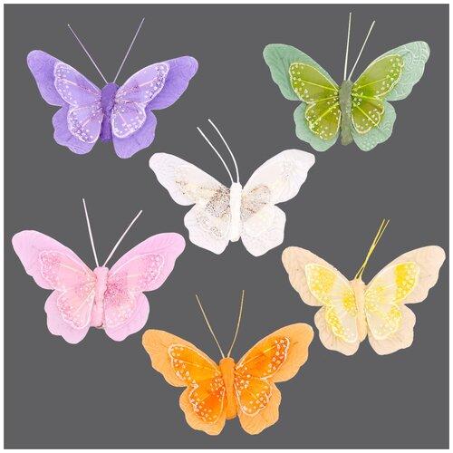 Купить LYZ19118/1-6 Бабочки с клипсой 9, 5см ассорти Астра, 12 шт, Astra & Craft, Фурнитура для украшений