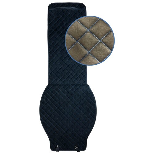 Накидки на сиденья автомобиля из алькантары 2 шт, черная/синяя строчка (У)