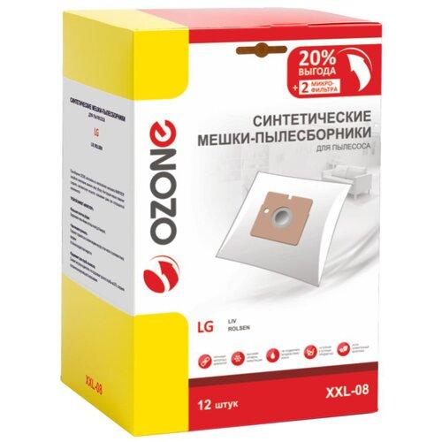 мешки пылесборники ozone xxl p05 бумажные 12 шт 2 микрофильтра для bosch siemens scarlett ufesa Синтетические мешки-пылесборники Ozone XXL-08 для пылесоса LG, 12 шт + 2 микрофильтра
