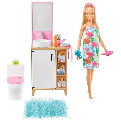 Купить Кукла Barbie с аксессуарами В ванной комнате, GRG87, Куклы и пупсы