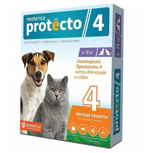 Neoterica капли от блох и клещей Protecto 4 для собак, щенков, кошек от 4 до 10 кг