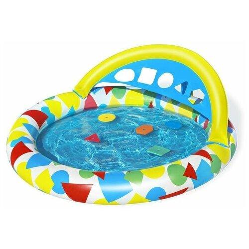 Детский бассейн Bestway Splash & Learn Kiddie Pool 52378, 120 х 117 х 46 см голубой/желтый детский бассейн bestway ball pit play pool 51141 голубой