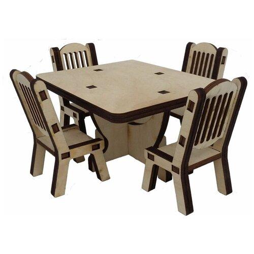 Набор кукольной мебели - стол и 4 стула недорого