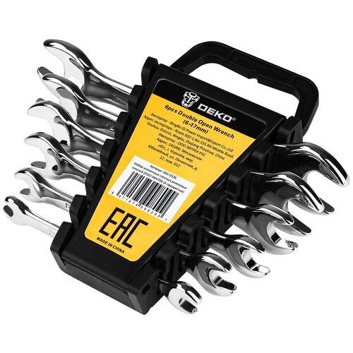 Фото - Набор усиленных гаечных рожковых ключей DEKO DKHT06 (6 предметов) набор ключей гаечных рожковых углеродистая сталь 12 предметов