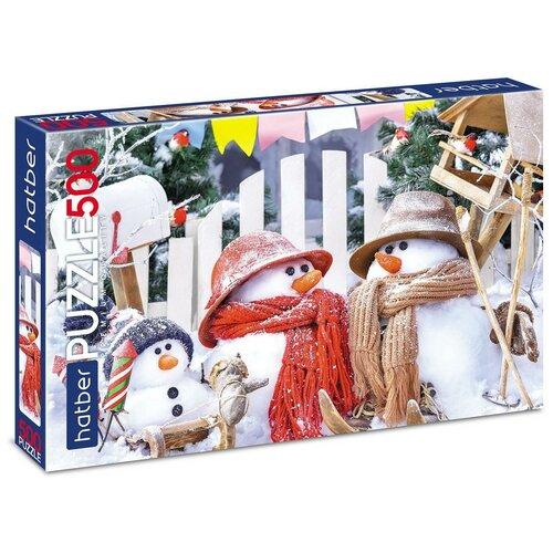 Пазл Hatber Забавные снеговики (500ПЗ2-21015), 500 дет.