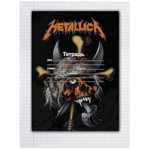 Купить Набор тетрадей 5 штук, 12 листов в клетку с рисунком Metallica череп в бандане, Drabs, Тетради