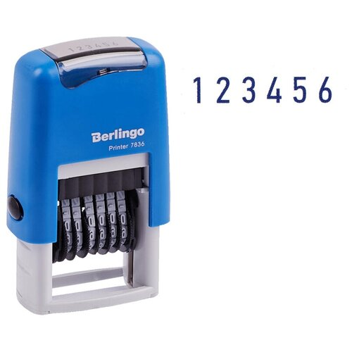 Нумератор Berlingo Printer 7836 прямоугольный синий
