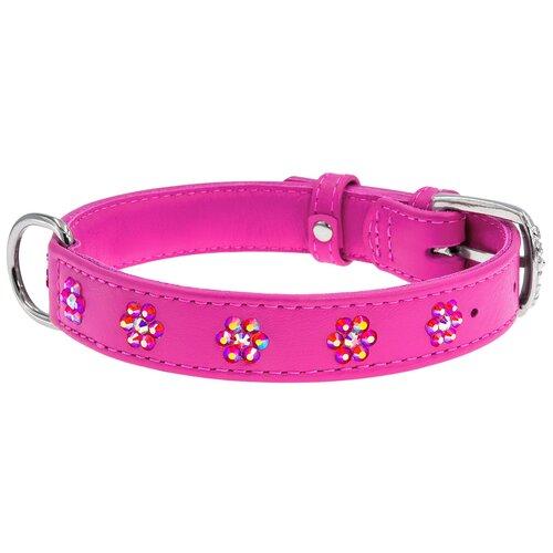 Фото - Ошейник кожаный для собак с клеевыми стразами Цветочек розовый 15 мм 27 – 36 см Collar WauDog Glamour (1 шт) ошейник для собак collar waudog с рисунком цветы 15 мм 27 36 см черный