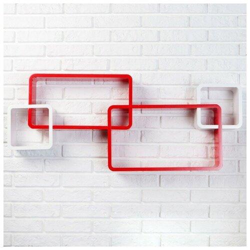 Полка Yiwu Zhousima Crafts Набор настенных полок 4 шт, красный по цене 5 041
