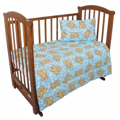 Купить Комплект Ангелочки 3001 одеяло 140х110 см + подушка 40х60 см голубой, Покрывала, подушки, одеяла
