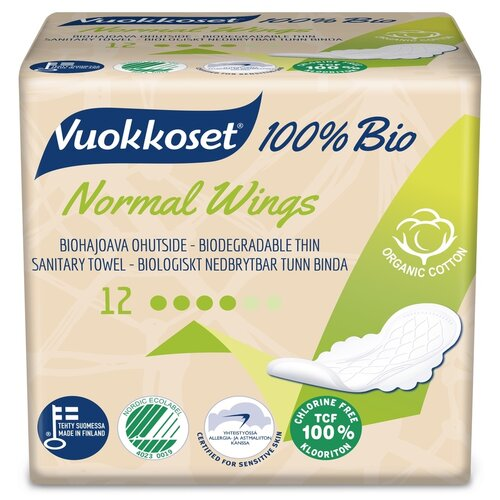 Купить Vuokkoset прокладки Normal Wings 100% Bio, 4 капли, 12 шт.