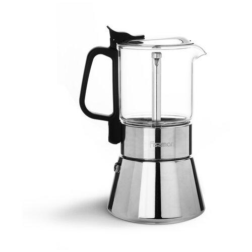 Кофеварка Fissman гейзерная на 6 порций/360 мл, нержавеющая сталь+стекло (3319)