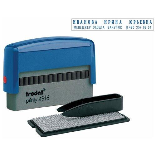 Фото - Штамп Trodat 4916 typo прямоугольный самонаборный синий датер самонаборный 2 строки дата 4 мм typo dater 4755 db typo