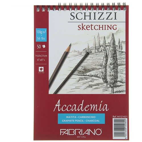 Фото - Скетчбук для зарисовок Fabriano Accademia 21 х 14.8 см (A5), 120 г/м², 50 л. скетчбук блокнот для зарисовок полином на металлическом гребне artbook quadro big aquarelle 19 х 19 см 200 г м² 20 л