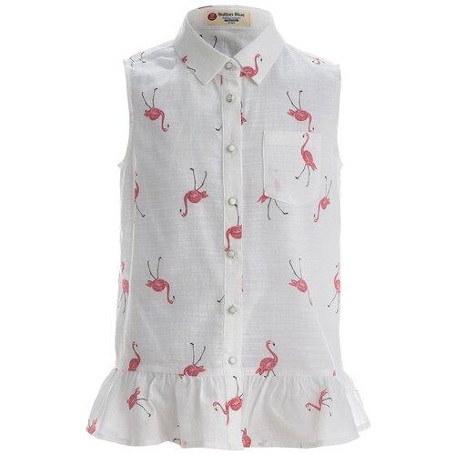 Купить Блузка Button Blue размер 104, белый, Рубашки и блузы