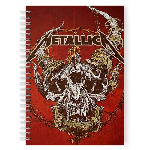 Купить Тетрадь 48 листов в клетку с рисунком Metallica Череп на красном, Drabs, Тетради