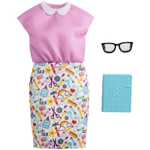 Barbie Наряд преподавателя для куклы Barbie GRC54 розовый/белый