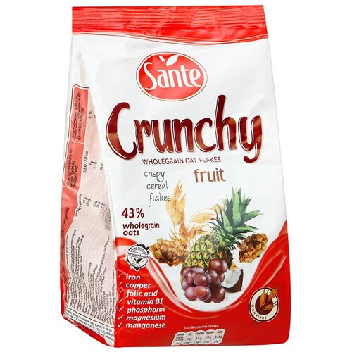 Фото - Гранола Sante Crunchy хрустящие овсяные хлопья с фруктами, пакет, 350 г мюсли axa muesli crispy хрустящие медовые хлопья и шарики с тропическими фруктами коробка 270 г