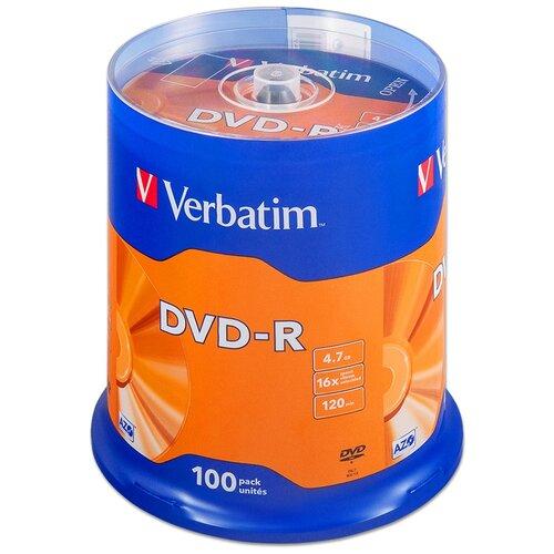 Фото - Диск Verbatim DVD-R 4,7Gb 16x cake 100 диск dvd r 4 7gb verbatim 16x cake box 10шт