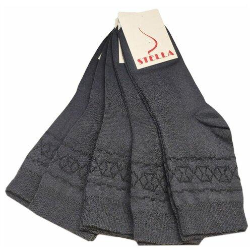 Комплект женских носков из хлопка темно-серого цвета, 5 шт, р-р 37-39