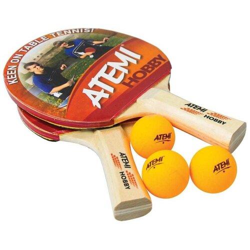 Фото - Набор для настольного тенниса Atemi Hobby SM (2 ракетки+3 мяча*+чехол) набор для игры в теннис abtoys 2 ракетки 2 мяча на блистере 43x21x4 5