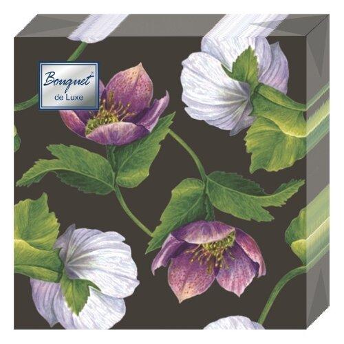"""Купить Салфетки бумажные Bouquet """"Декоративный цветок"""" 1 упаковка по 25 штук, размер 24х24 сантиметра, 3-х слойные."""