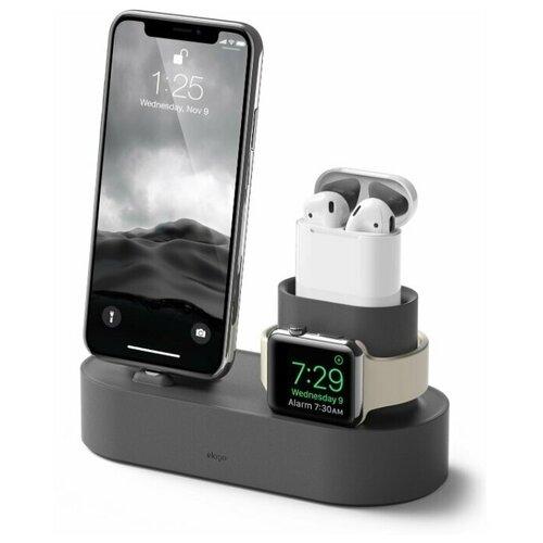 Зарядная станция из силикона 3 in 1 Elago Charging hub - iPhone / Apple Watch / AirPods / Dark Gray
