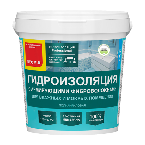 Гидроизоляция С армирующими фиброволокнами NEOMID, 3кг
