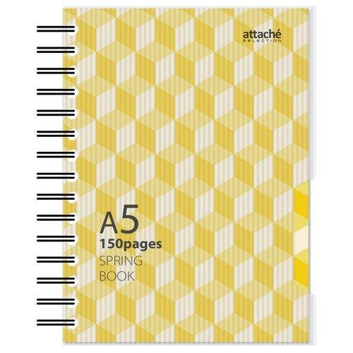 Бизнес-тетрадь А5, 150л, клетка, спираль, Attache Selection Spring Book желтый 84235