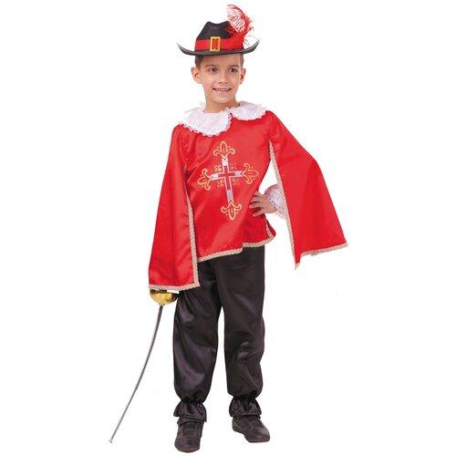 Купить Костюм пуговка Мушкетер (2030 к-18), красный/черный, размер 140, Карнавальные костюмы