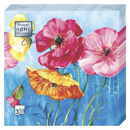 """Купить Салфетки бумажные Bouquet """"Акварельные маки"""" 1 упаковка по 20 штук, размер 33х33 сантиметра, 3-х слойные."""