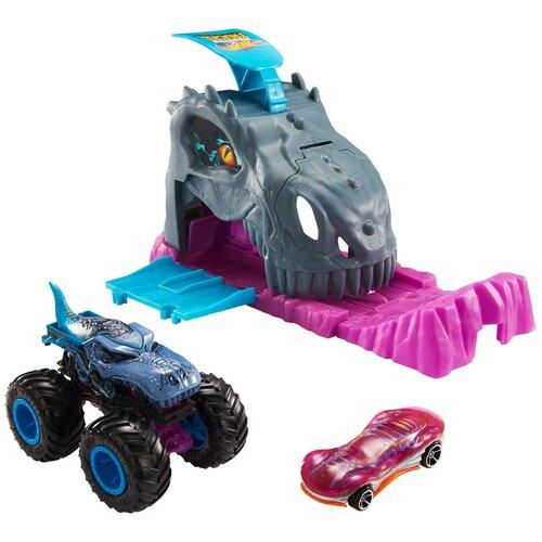 Hot Wheels Набор Монстр-трак Гараж пусковой Мега Рекс GVK00, серый/розовый