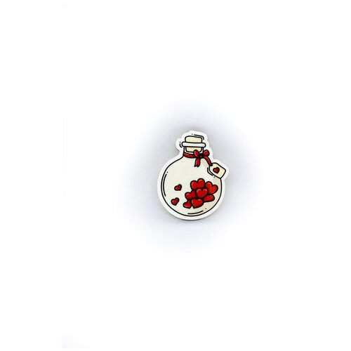 Значок деревянный PaperFox Пробирка с любовью, пин бижутерия, брошь женская, детская для девочки. Подарок сувенир женщине, другу, парню, маме, подруге, на день рождения коллеге, девушке, влюбленным, любимому мужу, пузырек химику. Цвет: красный. 43 Х 34 мм