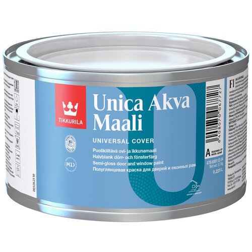 Фото - Краска акриловая Tikkurila Unica Akva Maali полуглянцевая белый 0.225 л краска акриловая tikkurila luja 40 полуглянцевая прозрачный 9 л