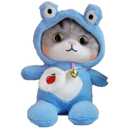 Мягкая игрушка Котенок в пижаме кигуруми Лягушка / в капюшоне 18 см
