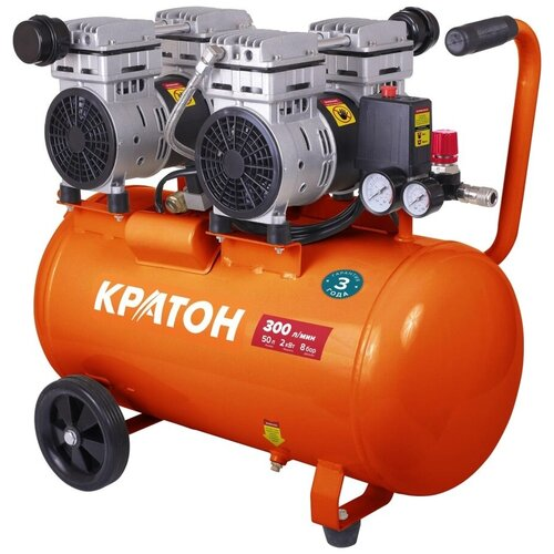 Фото - Компрессор безмасляный Кратон AC-300-50-OFS, 50 л, 2 кВт компрессор безмасляный hyundai hyc 3050s 50 л 2 квт