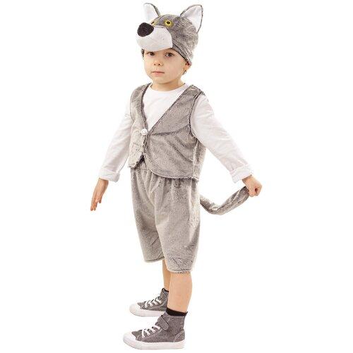 Купить Костюм пуговка Волчонок Фомка (4001 к-18), серый, размер 128, Карнавальные костюмы
