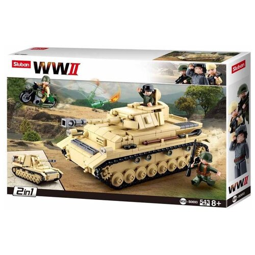 Конструктор SLUBAN WW2 M38-B0693 Тяжелый немецкий танк конструктор sluban ww2 m38 b0682 газ 67