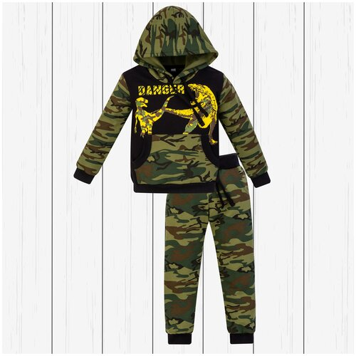 Спортивный костюм Утенок размер 98, хаки/черный/дино недорого