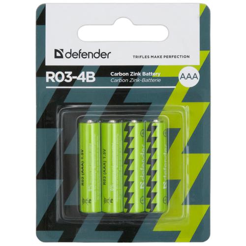 Фото - Батарейка Defender солевая AAA R03, 4 шт. батарейка фаza aaa r03 heavy duty 4 шт