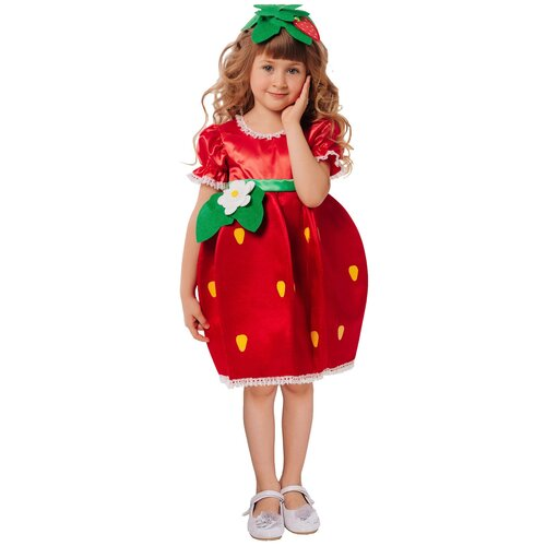 Купить Костюм пуговка Клубничка (2119 к-21), красный, размер 110, Карнавальные костюмы
