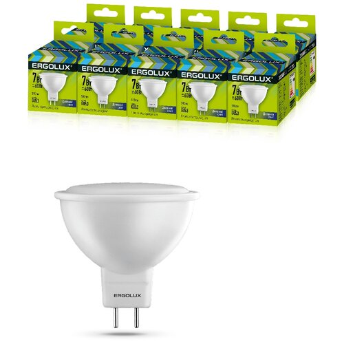Фото - Светодиодная Лампа Ergolux LED-JCDR-7W-GU5.3-6K упаковка 10 шт светодиодная лампа ergolux led g45 11w e27 6k упаковка 10 шт