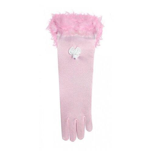 Купить Розовые перчатки с перьями (детские), 15 см., WIDMANN, Карнавальные костюмы