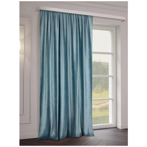 тюль тд текстиль кристин голуб 300 270 Портьеры ТД Текстиль Бархат на ленте 270 см, 1 шт. бирюза