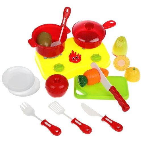 Купить Набор продуктов с посудой Наша игрушка Y12113035 желтый/красный, Игрушечная еда и посуда