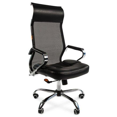 Компьютерное кресло Chairman 700 сетка для руководителя, обивка: текстиль/искусственная кожа, цвет: черный