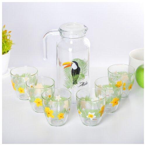 Набор питьевой 7 предметов ТУКАН ДЖАНГЛ (кувшин 1 л + 6 стаканов 250 мл) 4264402